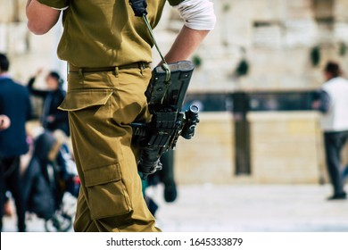 Jerusalem Israel February 14, 2020 View of unidentified Israeli soldiers visiting the Western Wall, the most religious site in the world for the Jewish people. Located in the Old City of Jerusalem