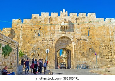 JERUSALEM, ISRAEL - FEBRUARY 16, 2016: The Lions' Gate is the start point of the Via Dolorosa, the last walk of Jesus from prison to crucifixion, on February 16 in Jerusalem.