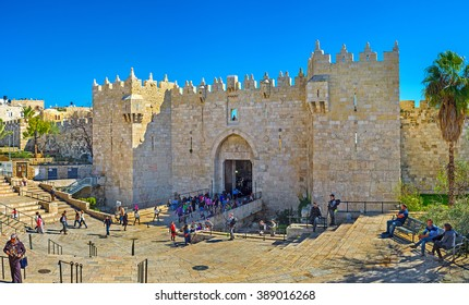 JERUSALEM, ISRAEL - FEBRUARY 16, 2016: The Damascus Gate is one of the most crowded city exits, because behind it hides the local market, on February 16 in Jerusalem.