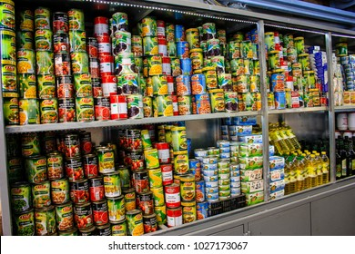Jerusalem Israel February 16-2018 Various food in boxes at the Mahane Yehuda Market in Jerusalem on the morning