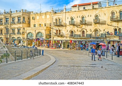 JERUSALEM, ISRAEL - FEBRUARY 18, 2016: The street of Omar Ben el-Hatab is the part of every tourist route, here locates many landmarks, cafes and souvenir shops, on February 18 in Jerusalem.
