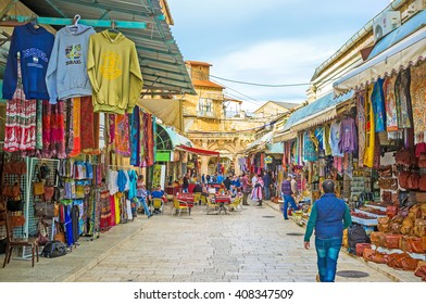 JERUSALEM, ISRAEL - FEBRUARY 18, 2016: The Aftimos Market in Christian Quarter is on of the most visitable city landmarks, on February 18 in Jerusalem.