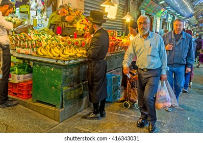 JERUSALEM, ISRAEL - FEBRUARY 18, 2016: The Mahane Yehuda market is the best place to choose fresh and tasty fruits and vegetables, on February 18 in Jerusalem.