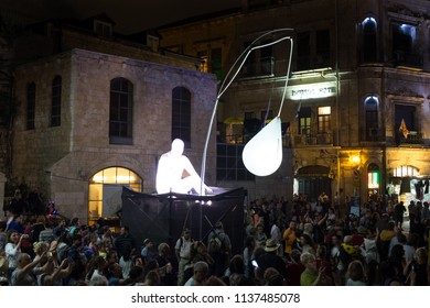JERUSALEM, ISRAEL - FEBRUARY 21, 2012: The abstract installation at Jerusalem Light Festival