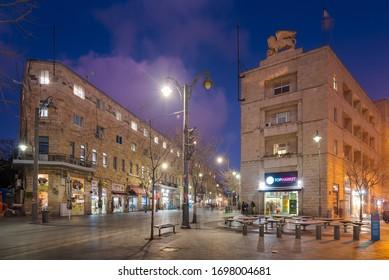 Jerusalem, Israel - February 26, 2020: Evening city, Jaffa street, Generali building