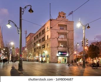 Jerusalem, Israel - February 26, 2020: Jaffa street, Generali building at night