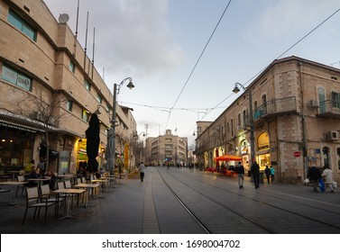 Jerusalem, Israel - February 26, 2020: Jaffa street, Generali building