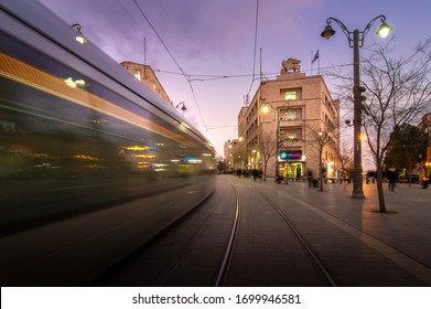 Jerusalem, Israel - February 26, 2020: Jerusalem tram, Jaffa street, Generali building