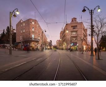 Jerusalem, Israel - February 26, 2020: Evening cityscape: Generali building, Jaffa street