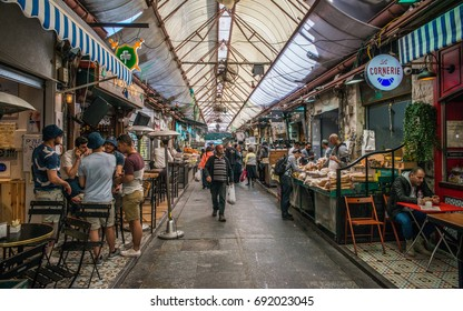 Jerusalem, Israel - February 26th, 2017: Mahane Yehuda Market is a marketplace in Jerusalem, Israel. Popular with locals and tourists alike, the market's more than 250 vendors