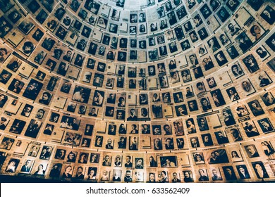 Jerusalem, Israel - February 27th, 2017: The Hall of Names in the Yad Vashem Holocaust Memorial Site in Jerusalem, Israel, remembering some of the 6 million Jews murdered during World War II