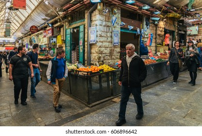 Jerusalem, Israel - February 28th, 2017: The Machane Yehuda market, Jerusalem