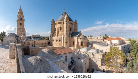 Jerusalem Israel, holy place for christianity and judaism. Capital of Israel architecture, views and skyline. Religious buildings, church, synagogue, mosques in the holy land.