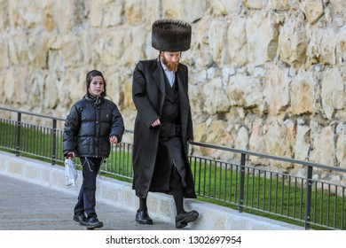 Jerusalem, Israel - January 09, 2019: Jewish Style Man in the Traditional Dress near the Western wall