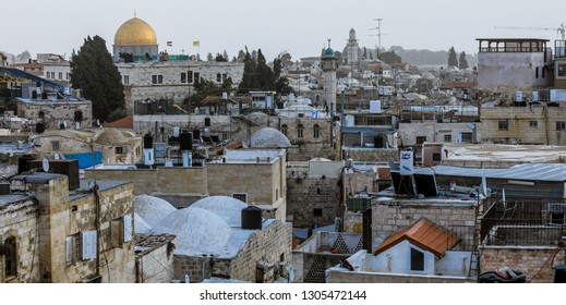 Jerusalem, Israel - January 10, 2019: The Dome of the Rock (Qubbat al-Sakhrah), Islamic shrine located on the Temple Mount in the Old City