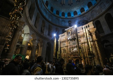 Jerusalem, Israel - January 11, 2019: Interior View of the Church of the Holy Sepulchre