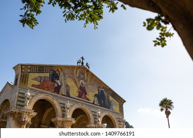 Jerusalem, Israel - January 13 2018: The Church of All Nations is located next to the Garden of Gethsemane.
