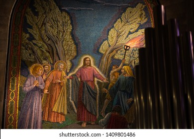 Jerusalem, Israel - January 13 2018: A beautiful mosaic at the Church of All Nations depicting the arrest of Christ.