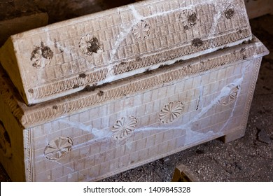 Jerusalem, Israel - January 13 2018: An ancient ossuary box at the Mount of Olives Jewish Cemetery.