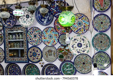 Jerusalem Israel January 13-2018 Ceramic dishes and gifts sold in a souvenirs shop sold in the bazaar of the old city of Jerusalem in Israel