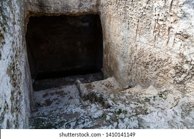 Jerusalem, Israel - January 16 2018: An ancient mikvah (cleansing bath) near the Second Temple ruins.
