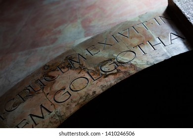 "Jerusalem, Israel - January 17 2018: ""Golgotha"" letters at the Church of the Holy Sepulchre"