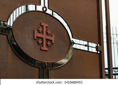 Jerusalem, Israel - January 17 2018: The old style Jerusalem cross on a metal door.