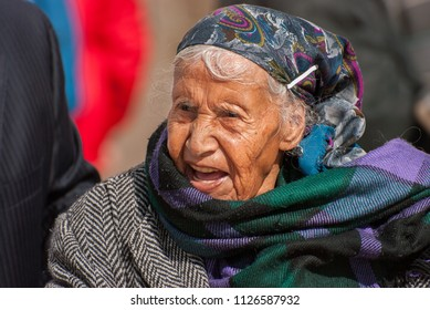 JERUSALEM, ISRAEL - JANUARY 26, 2012: Very old wrinkled woman near the Western Wall
