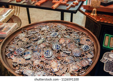 JERUSALEM, ISRAEL - JANUARY 26, 2012: Key rings with Israel and Jerusalem symbols for sale at Old City street market