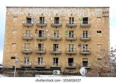 Jerusalem Israel January 28-2018 abandoned building in the city of Jerusalem