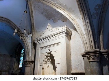 Jerusalem, Israel, January 30, 2020, Fragment of the interior of the upper room, i.e. the place where Jesus ate his last supper, and was the sending of the Holy Spiritconfirmation.