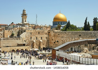 Jerusalem, Israel - July 10, 2019: View of the Western Wall of Jerusalem Wailing Wall and the Dome of the Rock