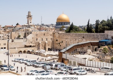 Jerusalem, Israel, July 14, 2017 : View of the Temple Mount and El-Ghawanima Tower in the Old City of Jerusalem, Israel
