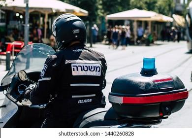 Jerusalem Israel July 2, 2019 View of a Israeli police motorcycle rolling in the streets of Jerusalem in the afternoon