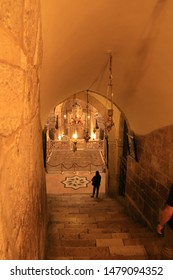 Jerusalem, Israel, July 22nd. 2019. Inside the Church of the Holy Sepulchre