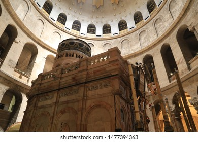 Jerusalem, Israel, July 26th. 2019. Inside the Church of the holy Sepulchre.