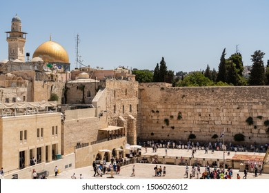 Jerusalem, Israel - July 7 2018 : The Wailing Wall with the Dome of the Rock on the background