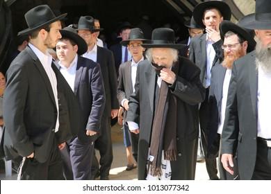 JERUSALEM, ISRAEL - JUN 1, 2017: Rabbi Shmuel Auerbach, leader of Lithuanian Jews in Jerusalem, during his visit to the Kotel/Western Wall in Jerusalem