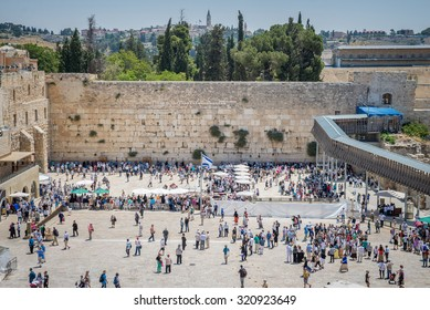 JERUSALEM, ISRAEL - JUNE 1, 2015: The Western Wall, Wailing Wall or Kotel. One of the most important religious shrines. June 1, 2015. Jerusalem, Israel.