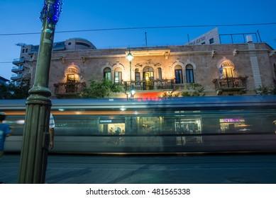 JERUSALEM, ISRAEL - JUNE 1, 2015: Jaffa Road is one of the longest and oldest major streets in Jerusalem. June 1, 2015. Jerusalem, Israel.