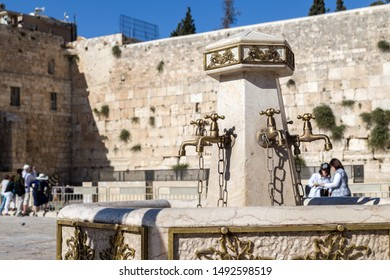 Jerusalem, Israel - June 10, 2015: The holy fountains at the Western wall or Wailing wall in the old city of Jerusalem, Israel.