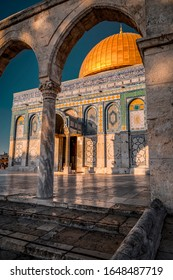 Jerusalem, Israel - June 12, 2019: Exterior view of the Dome of the Rock or Al Qubbat as-Sakhrah in Arabic. Located in Jerusalem, the monumental shrine is a sacred Islamic destination.