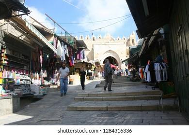 Jerusalem , Israel - June 13, 2013: Tourists and city residents on the bazaar streets of Jerusalem, Israel