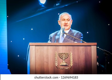 "JERUSALEM, ISRAEL. June 14, 2016. Prime minister of Israel Benjamin Netanyahu giving an address at the Channel 9 ""People of the Year 2016"" ceremony. Binyamin Netanyahu portrait."