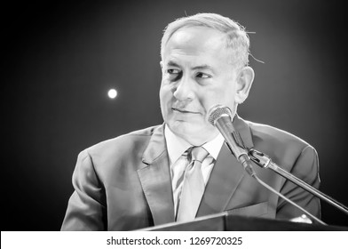 "JERUSALEM, ISRAEL. June 14, 2016. Prime minister of Israel Benjamin Netanyahu giving an address at the Channel 9 ""People of the Year 2016"" ceremony. Binyamin Netanyahu black and white portrait image."