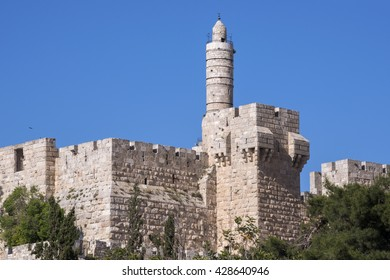 JERUSALEM, ISRAEL - JUNE 15, 2015: Ancient walls of Jerusalem and the Tower of David