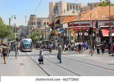 JERUSALEM, ISRAEL - June 15, 2017: cityscape with light rail  at the Jaffa Road, one of the most famous streets in the heart of the city of Jerusalem, Israel