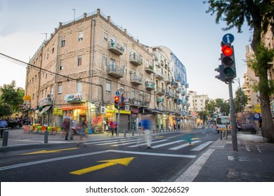 JERUSALEM, ISRAEL - JUNE 2, 2015: Pedestrians cross the road in Jerusalem. June 2, 2015. Jerusalem, Israel.