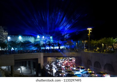 JERUSALEM, ISRAEL - JUNE 26, 2018: Blue lasers show at Jerusalem Light Festival