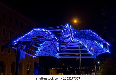 JERUSALEM, ISRAEL - JUNE 26, 2018: The light umbrella installation at Jerusalem Light Festival